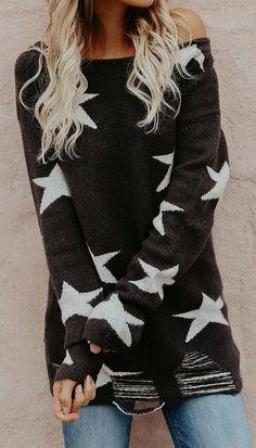 Black Off Shoulder Star Print Long Sleeve Chic Women Knit Sweater Plaid Fashion, Tomboy Fashion, Fashion Moda, Star Fashion, Winter Fashion, Womens Fashion, Black Off Shoulder, Cold Shoulder, How To Wear Leggings