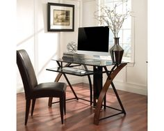 This unique and elegant open architecture computer desk features a beautiful combination of curved wood sides, sturdy steel framing, and tinted, tempered safety glass. The curved wood sides are finished in a Vibrant Espresso color, and are complement Top Computer, Wood Computer Desk, Wood Desk, Curved Wood, Curved Glass, Home Office Space, Home Office Desks, Desk With Keyboard Tray, Portable Desk