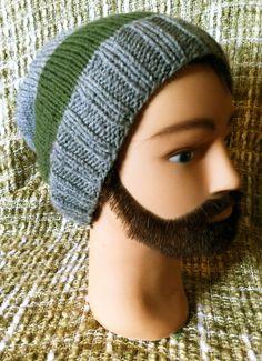 Knit slouch hat, gray/green stripe beanie. $25.00, via Etsy.