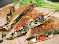 mediterranean quesadillas--no mushrooms for me but everything else looks delicious