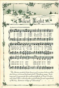 Free Christmas sheet music to download for art projects. Perfect for cards, decorations & gift wrap!