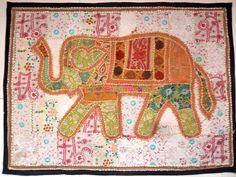 HANDMADE ELEPHANT BOHEMIAN PATCHWORK WALL HANGING EMBROIDERED TAPESTRY INDIA X08…