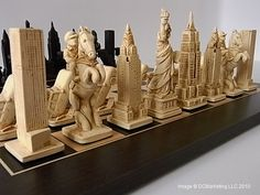 Plain theme chess pieces, NYC THEME PIECES. The unmistakeable and breathtaking New York skyline!  Not to mention the mounted police and cars. Yes, it's all here in our special New York (Limited Edition) theme chess set.