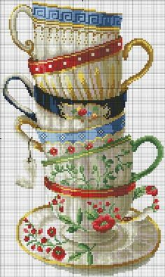 Tea cups cross stitch