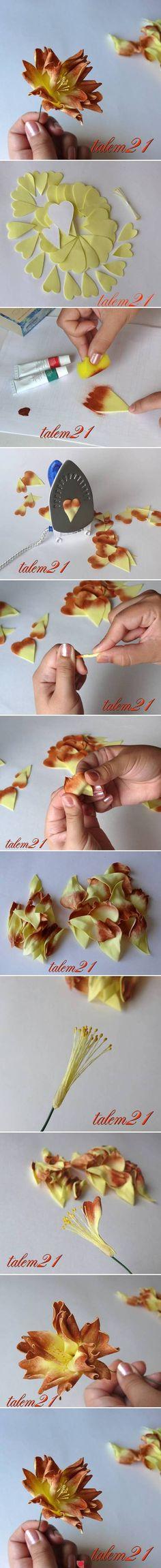 DIY Fantasy Flower DIY Fantasy Flower by diyforever Cloth Flowers, Paper Flowers Diy, Felt Flowers, Handmade Flowers, Flower Crafts, Fabric Flowers, Flower Diy, Heart Flower, Flower Step By Step