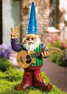 Peaceful Hippy Garden Gnome W/ Guitar & Bellbottom
