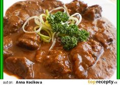 "Guláš ""ala"" divočina Pork, Beef, Chicken, Red Peppers, Kale Stir Fry, Meat, Pork Chops, Steak, Cubs"