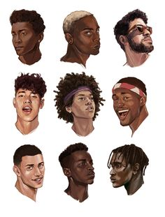 black art trebled-negrita-princess: illustratedkate: black boys are so handsome Of all shades yes GAWD! Art Sketches, Art Drawings, Drawing Faces, Male Face Drawing, Art Afro, Different Skin Tones, Hair Reference, Drawing Reference, Character Design Inspiration