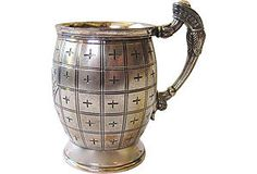 """Unusual Meriden silverplate barrel-shaped cup with wonderfully detailed design. It is hallmarked """"Meriden B. Company"""" and """"Sillman's Silver-Ring Hard Metal Pat."""""""