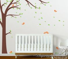 Tree with Falling Leaves and Birds Floor-to-Ceiling Wall Decal - WAL-2107B
