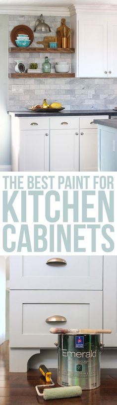 If you're thinking of painting your kitchen this article is a must-read! How to get a professional finish on your kitchen cabinets. Oil-Based Primer. A mohair roller. I have no idea why it's so amazing, but it is. I ruled out oil-based paint. It yellows over time and I did NOT want my crisp white cabinets to turn yellow. So I began looking at enamel paints. I settled on Sherwin-Williams Emerald Urethane Trim Enamel.