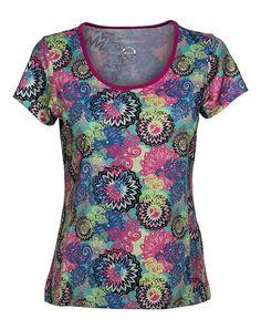 Short Sleeve. Flow print. Quick dry single jersey. Feminine fit. Straight hem. Regular fit. Flow Tee Opal #sportsapparel #DailySportsUSA #exercise