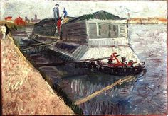 Bathing Float on the Seine at Asnieres. Vincent van Gogh. Download painting.