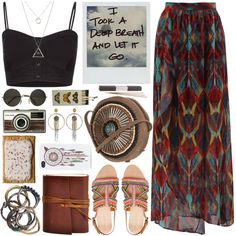 Full Tilt tops, Alice + Olivia skirts and Zara sandals. 70s Outfits, Indie Outfits, Teen Fashion Outfits, Cute Casual Outfits, Boho Outfits, Boho Fashion, Looks Hippie, Hippie Lifestyle, Boho Grunge