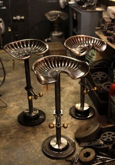Bar stools made out of old tractor seats.