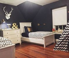 Those Navy walls give such a richness to this gorgeous room! Love the pops of goldThanks for the tag @_lisabeth_... - Home Decor For Kids And Interior Design Ideas for Children, Toddler Room Ideas For Boys And Girls