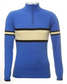 Blue with a black and ecru stripe this wonderful finest Italian merino wool retro cycling jersey from Jura Cycle Clothing Cycling Tops, Urban Cycling, Cycling Jerseys, Bicycle Jerseys, Guzzi V7, Moto Guzzi, Cycling Outfit, Cycling Clothes, Blue Cream