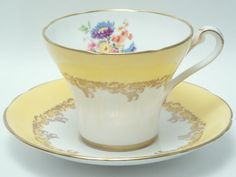 Royal Stafford Vintage Fine Bone China Corset Tea Cup and Saucer Made in England Yellow Band Mixed Flowers Floral Gold Border Trim