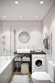 Looking for ideas to transform your small bathroom? Maximize your bathroom with these tips and ideas for your small bathroom spaces. Bathrooms are usually small spaces that are called upon to do many things. Bathroom With Tub Diy Bathroom, Laundry In Bathroom, Room Design, House Bathroom, Bathroom Interior Design, Small Apartments, Modern Bathroom, Bathroom Design Small, Bathroom Decor