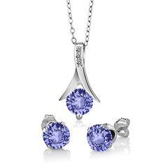 275 Ct Blue Tanzanite White Diamond 925 Sterling Silver Pendant Earrings Set ** Check this awesome product by going to the link at the image.