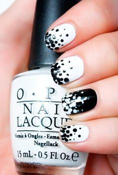 Love this graphic black and white nail art!  Get this look with #OPI Alpine Snow and Black Onyx.
