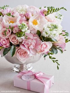 Floral Arrangement ~ pink and white