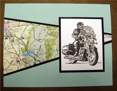 Motorcycle and Map by **Carol** - Cards and Paper Crafts at Splitcoaststampers Homemade Birthday Cards, Birthday Cards For Men, Man Birthday, Homemade Cards, Masculine Birthday Cards, Masculine Cards, Scrapbook Cards, Scrapbooking, Fathers Day Cards