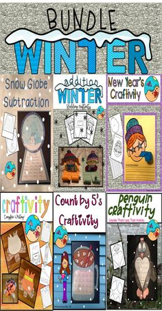 Winter Activities First Grade: Bundle of Math and Writing Craftivities Fun First Grade Bundle of Winter Activities Addition Subtraction Writing Greater Than and Less Than New Year's Resolution Winter Writing Count by Winter Activity Seasons Activities, Winter Activities, Writing Activities, Fun Activities, Subtraction Activities, Addition Activities, Classroom Fun, Classroom Activities, Counting In 5s