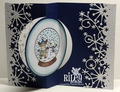 Card by Frances Byrne  (071212)  [(dies) Memory Box Frostyville Border, My Favorite Things Die-Namics Circle STAX 1 & 2, Sizzix Movers & Shapers L Die-Card: Circle Flip-its; (stamps) Riley & Company  Snowball Riley, Snowglobe Riley]