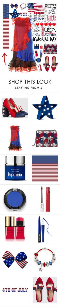 """Red, White & Blue: Celebrate the 4th!"" by lacas ❤ liked on Polyvore featuring Gucci, POPTIMISM!, Christopher Kane, La Prairie, Maybelline, Yves Saint Laurent, MAKE UP FOR EVER, Bling Jewelry and fourthofjuly"