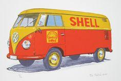 Lithograph print by Petr Ptáček - Volkswagen T1 - Shell #art   Czech contemporary artist. Come check it out to @ our art gallery: www.galerie-kaplicka.cz