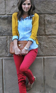 yellow cardigan, blue button up, red jeans and leopard flats. Own it all and would have never put it together ;)