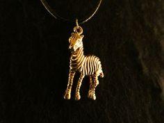 Anhänger 24 Karat Vergoldet Zebra Pferd Kette Chain Necklace Tier Steppe Afrika