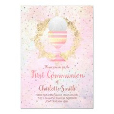 first communion faux glitter design invitation   Zazzle.com