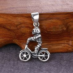 925 Sterling Silver Skeleton On Bicycle Charm Pendant by SterlingSilverBox