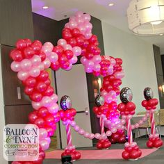 Sophia's had her Sweet 16 at Aloft Jacksonville Tapestry Park. We created her a giant balloon arch which was accompanied by popular pink carpet for the entrance. Sweet 16 Decorations, Balloon Decorations, Birthday Decorations, Balloon Ideas, Balloon Columns, Balloon Wall, Balloon Arch, 16 Balloons, Giant Balloons