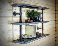 🌟 💖 🌟 💖 4 Tiers Industrial Laptop Desk,Solid Wood & Iron Pipe Computer Desk,Wall Pipe Desk with Shelves,Computer Table for Home Office Rustic Bookcase, Wall Bookshelves, Rustic Shelves, Wooden Shelves, Solid Wood Desk, Solid Wood Shelves, Wood Wall Shelf, Wall Shelves, Corner Shelves