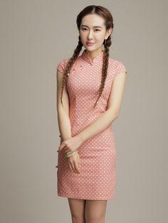 Sweet Dots Linen Cheongsam / Qipao Dress for Summer