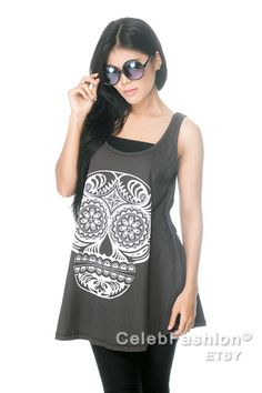 SKULL Day of the Dead Zombie Sugar Skull Dress Tunic Women Dress Black Shirts Top Vest Singlet Women T-Shirt Size M L. $16.99, via Etsy.