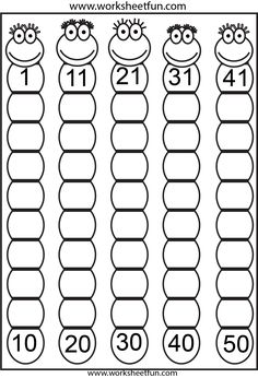 Free Missing numbers 1-50 freebie - worksheets. The whole site is awesome for OT handwriting practice!
