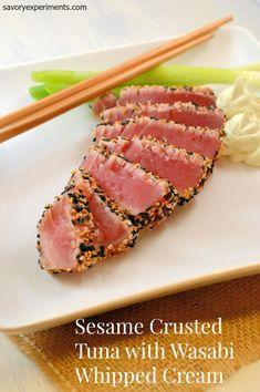 Sesame Crusted Tuna with Wasabi Whipped Cream