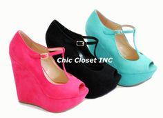 NEW Women High Heel Wedge Platform Open Toe Mary Jane T Strap Pink Shoes Sandals