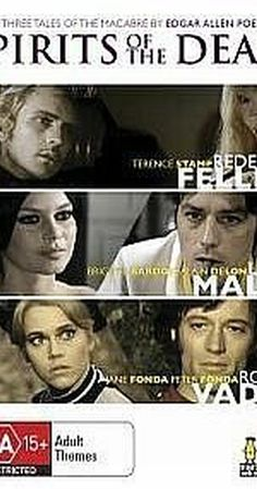 "Directed by Federico Fellini, Louis Malle, Roger Vadim.  With Jane Fonda, Brigitte Bardot, Alain Delon, Terence Stamp. Three directors each adapt a Poe short story to the screen: ""Toby Dammit"" features a disheveled drugged and drunk English movie star who nods acceptance in the Italian press and his producers fawn over him. ""Metzengerstein"" features a Mediveal countess who has a love-hate relationship with a black stallion - who, it turns out is really her dead lover. &quo..."