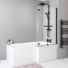 White Bathroom, Bathroom Interior, Modern Bathroom, Small Bathroom, Bathroom Ideas, Black Bath, Black Shower, L Shaped Bath, Bath Screens