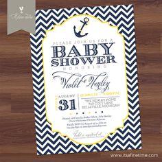 Baby Shower Invitation - Chevron Nautical Theme - Whimsical Vintage Retro, Yellow, Blue, Navy, white, Anchor -Boy, Girl, Twins - Printable on Etsy, $16.99