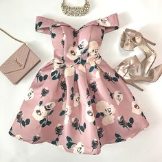 CHI CHI PETITE ALL OVER FLORAL PRINTED BARDOT PROM DRESS, blush bow heels, YSL saint laurent blush wallet on chain clutch, Valentine's Day outfit, spring wedding, floral, bow heels, pearl bib necklace
