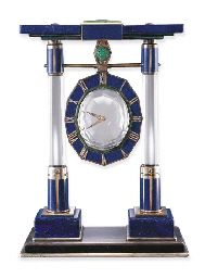 Cartier mystery clock (lapis lazuli, rock crystal, jade and diamond)