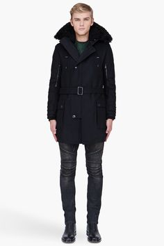BALMAIN black hooded Long wool parka