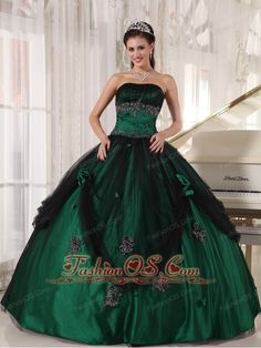 Pretty Green Quinceanera Dress Strapless Tulle and Taffeta Beading Ball Gown  http://www.fashionos.com  This gorgeous straight neckline green quinceanera dress features the black tulle swooping down to the bottom dress gentlely.Which also gives a dreamlike sense. And the bodice is adorned with exquisite appliques with dazzling beads. The oversized flowers beautifully decorate the dress.