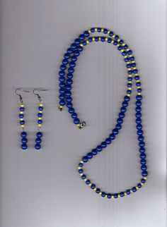 Sunshine over Blue Waters Handmade Glass and Seed Beads Necklace and Earring Set #Handmade